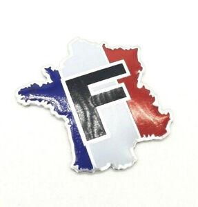 Sticker-Aufkleber-Emblem-Flagge-Logo-Land-Frankreich-Metall-selbstklebend