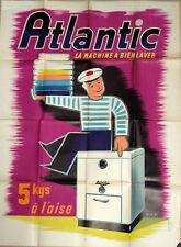 Original French Atlantic La Machine A Bien Laver poster — great graphics!