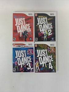 Just Dance Nintendo Wii 1 2 3 4 Game Bundle Complete Tested/Working 4 Games