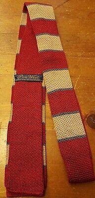 "Vtg., Pen West, Red/Tan/Blue, Striped, Cotton, Skinny, Sock-bottom Tie (56.5"")"