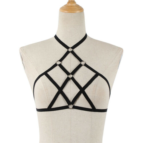 Womens Elastic Bandage Goth Cage BRA TOP Harness Cross Crop Strap Lingerie S0 JL