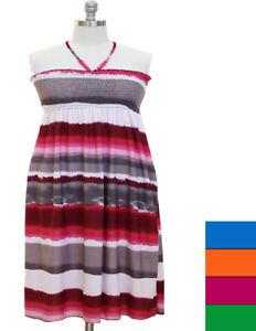 Details about Jr\'s Plus Size 1X,2X,3X Tie-Dye Smocked Beaded Halter Top  Dress (4 Color\'s)