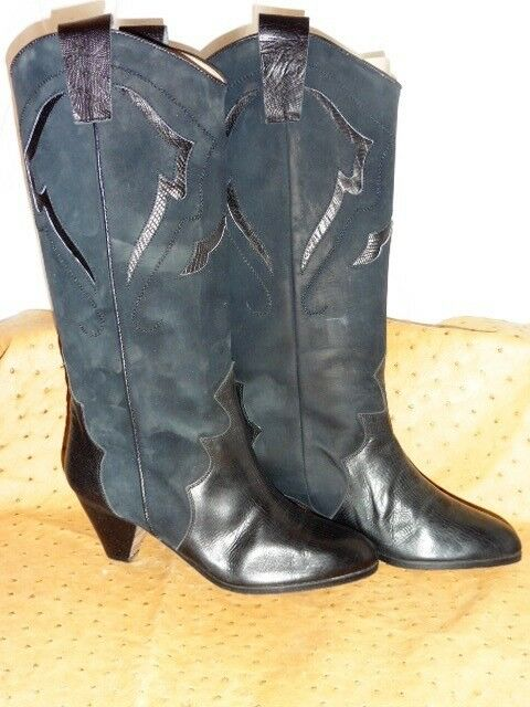 Exceptional Frederic Western Boots Leather Navy Suede Vintage