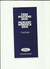 FORD MUSTANG GHIA & MERCURY MONARCH GHIA PRICE LIST SALE BROCHURE 1979 UK MARKET