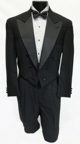40XL Traditional Black Wool Chaps Tuxedo Tailcoat Mardi Gras Long Tails Costume