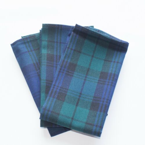 Mens Pocket Square Hanky Green White Red Tartan Embroidery Personalization