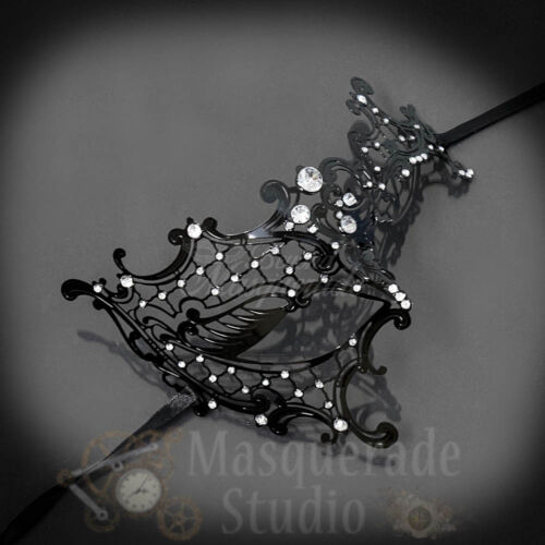 Black Womens Metal Phantom Filigree Laser-Cut Venetian Masquerade Prom Mask