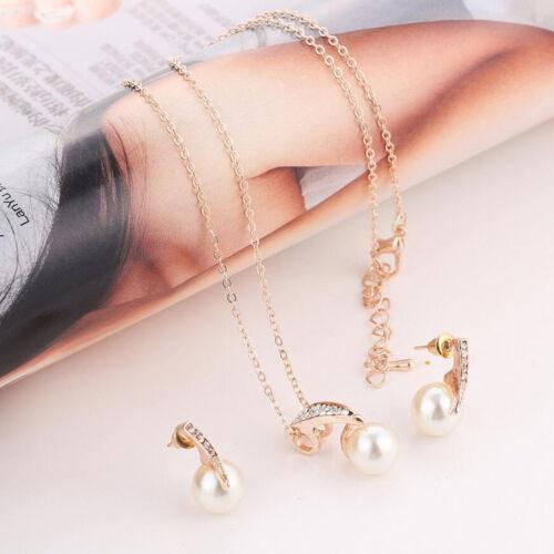 Élégant Femmes plaqué or cristal strass perle Boucles d/'oreilles Collier Bijoux Set