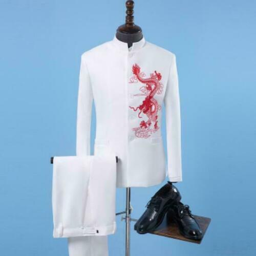 Mens Chinese Embroidered Stand Collar Suit Slim Fit Jacket Pants Coat 2 Pc LIGT