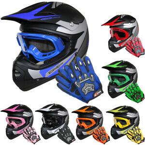 Helm Off Road XL 53-54 grün Motorrad Quad Bike MX BMX Kinder Cross Brille