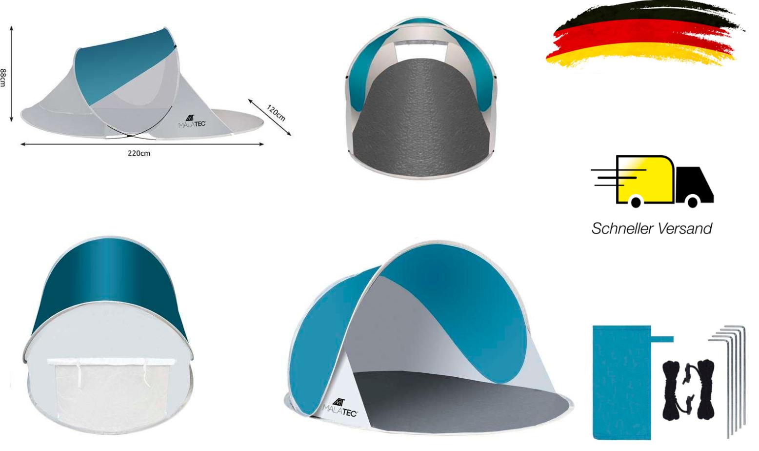 Strand Wurfzelt Sonnenschutz XXL Pop Up Strandmuschel 200x120x90 cm UV50