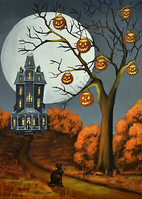 Giclee ACEO folk art Halloween witch walking cats cane moon house spooky woods
