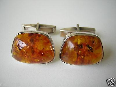 Süß GehäRtet Antike Honig Bernstein Manschetten Fischland Auge Flosse 835 Silber 10,5 G Amber