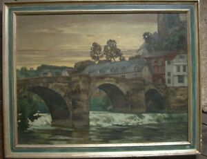 HUGO-NOTTHOFF-1885-ALTSTADT-MIT-BURG-RUNKEL-LAHN-ANTIK-SIGNIERT-RAHMEN-OL
