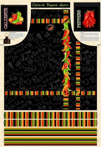 "Hot Pepper Chili Apron Project Cotton Fabric Wilmington Caliente 29/""X44/"" PANEL"