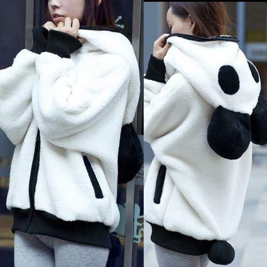 Lovely Panda Detachable Tail Zip Up Womens Hoodie Outwear Kigurumi Sweats Pocket