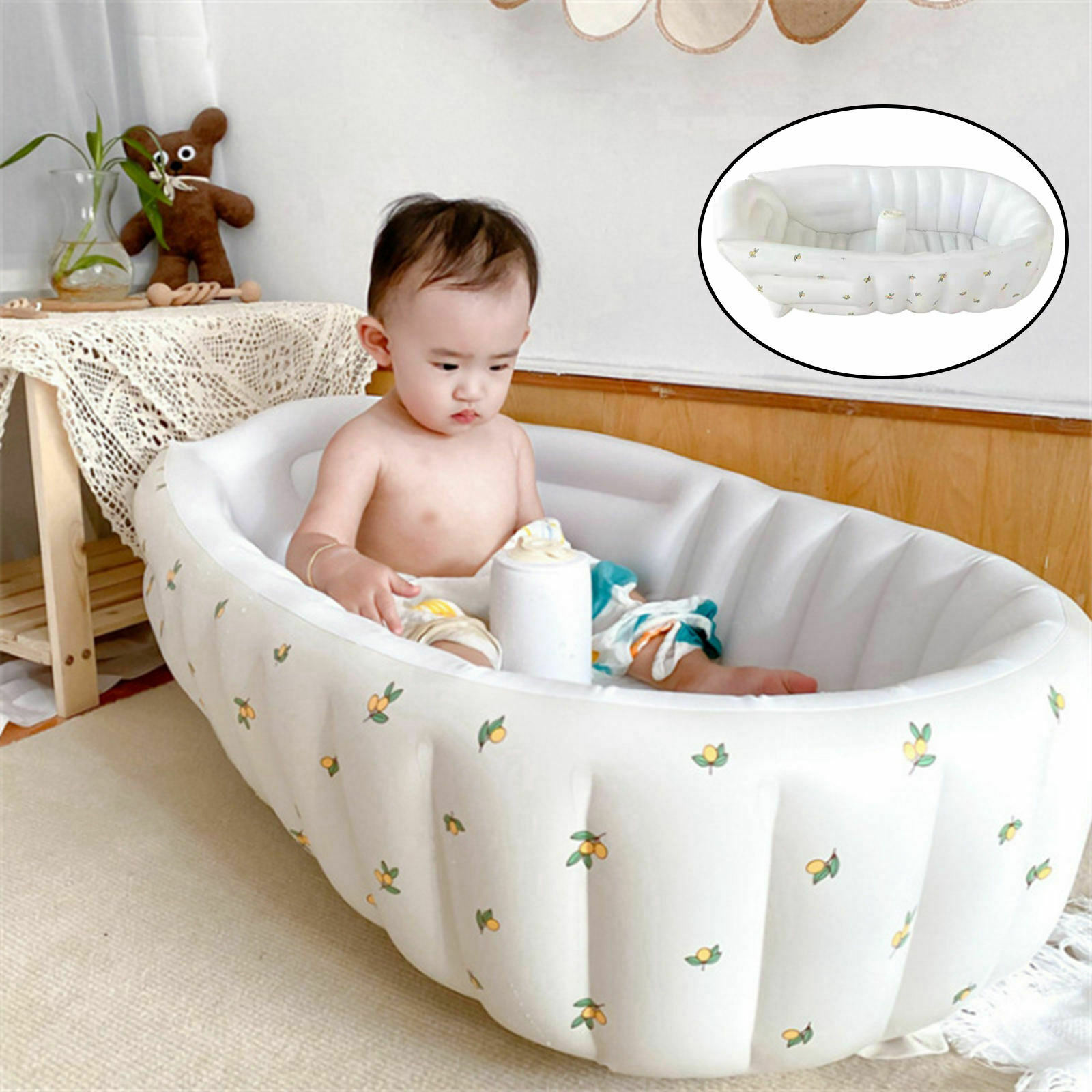 Inflatable Bathtub Protect Baby Skin Thick Drain Plug for Travel Travelling
