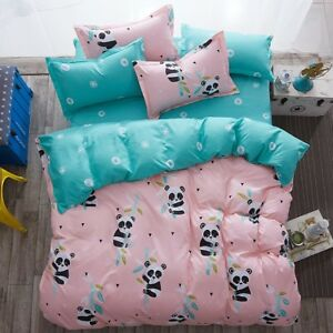 Cute-Panda-Printing-Bedding-Set-Duvet-Quilt-Cover-Sheet-Pillow-Case-Four-Piece