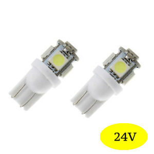 2-ampoules-a-LED-smd-w5w-T10-Blanc-Camion-Poids-lourd-Bateaux-24v-24-volt