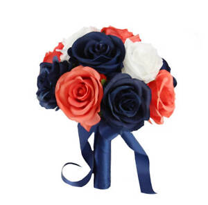 Artificial-Rose-Bouquet-in-White-Coral-Reef-and-Navy-Blue-Pick-Bouquet-Size