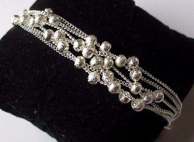 100% Vero Beau Bracelet Bijou Argent 925 Poinçonné 6 Rangs De Chaines Perle Argent 3380