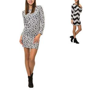 Only Damen Feinstrickkleid Mit Print Etuikleid Stretchkleid Streetwear