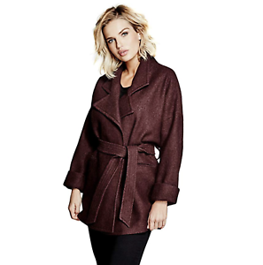 NEW-NWT-Belted-Wool-Wrap-Jacket-Purple-GUESS-by-Marciano-Women-039-s-Zemira-Coat-SzS