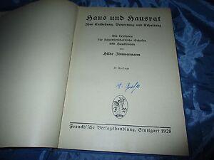 Antik-Buch-1929-Haus-und-Hausrat-Erhaltung-Hauswirtschaft-Lehrbuch