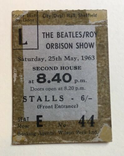 Beatles-Roy-Orbison-May-1963-Concert-Ticket-Sheffield-Original-Rare