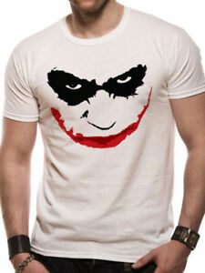 Official Batman The Dark Knight Joker Smile Outline T-shirt White S M L XL XXL