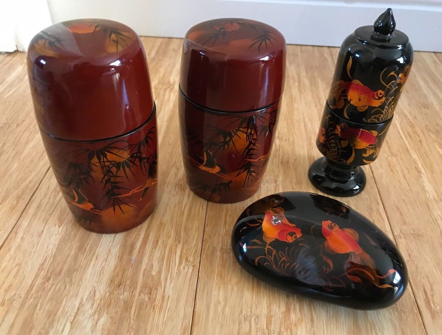 Lacquer Wood Tea Caddy Sets and Accessories