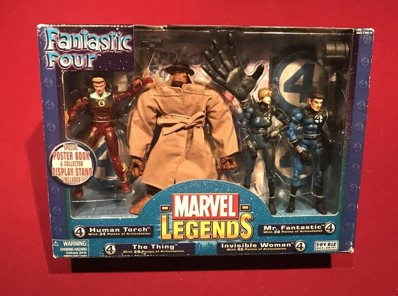 Marvel Legends Fantastic Four 4 Box Box Box Set Human Torch Thing Invisible Woman RARE 659c16