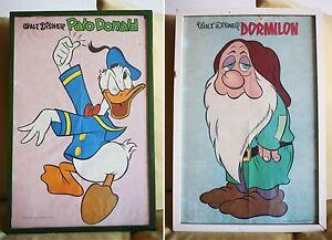 2-DISNEY-Posters-DONALD-DUCK-amp-SLEEPY-DWARF-PATO-DORMILON-50x35-CMs-70-S