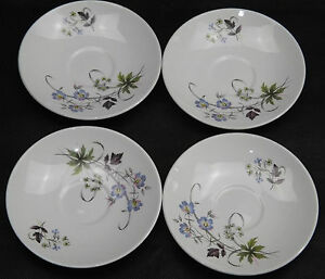 Hostess-TableWare-British-Anchor-Staffordshire-England-L5-Blue-Flora-Saucers-x-4