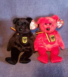 Ty Beanie Babies *FREIHERR VON SCHWARZ & GRAF VON ROT* Bears. GERMANY EXCLUSIVE