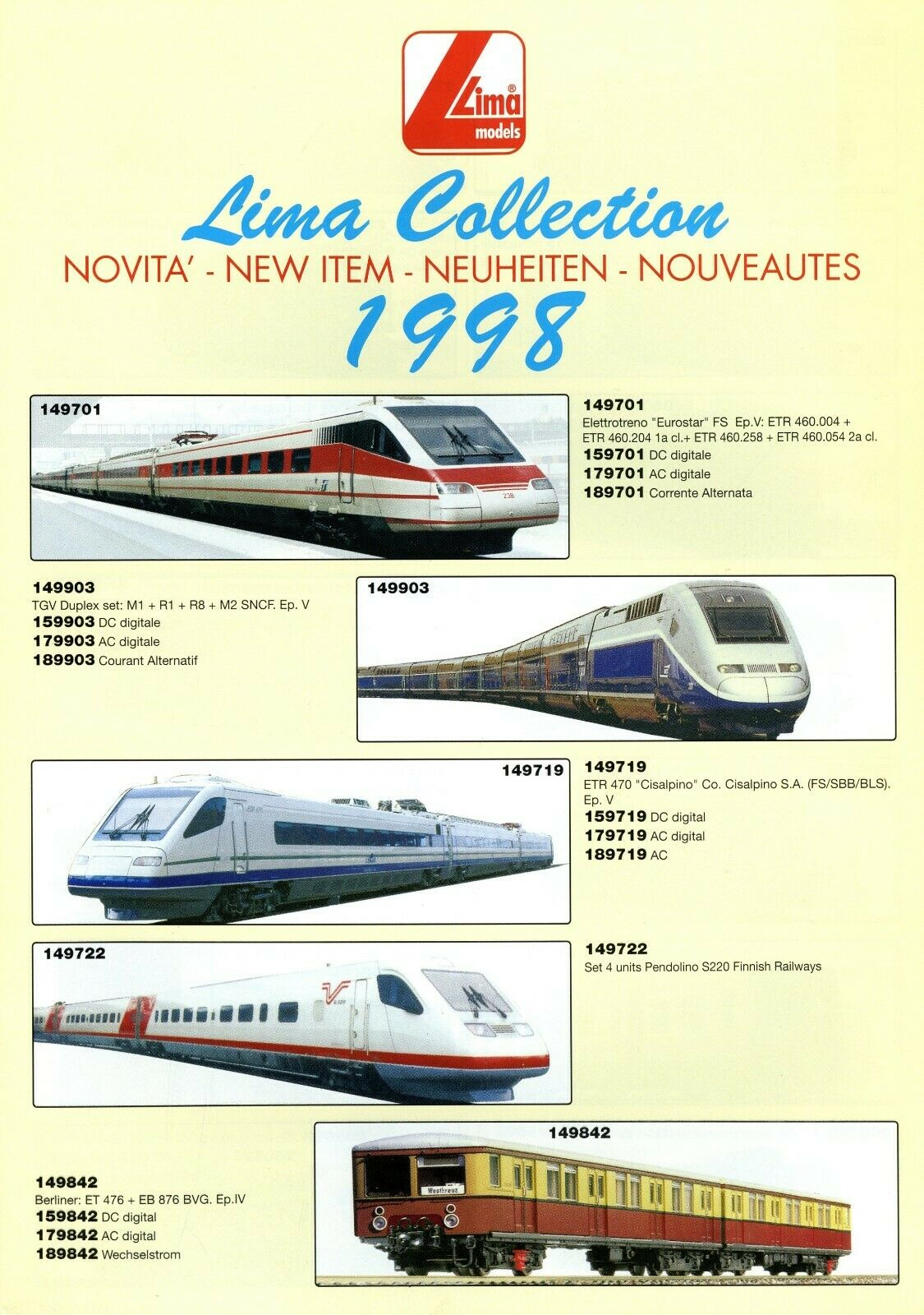 Lima Collection Neuheiten Prospekt 1998 Modelleisenbahn brochure model trains