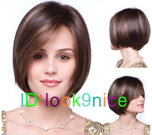 New sexy Women's ladies short Dark Brown Mix Natural Hair full wigs + wig cap