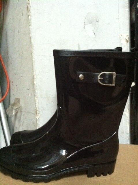 Brand New Women Shiny Black Med.Cuff  Rain Boots w/buckle Waterproof Size 5-10