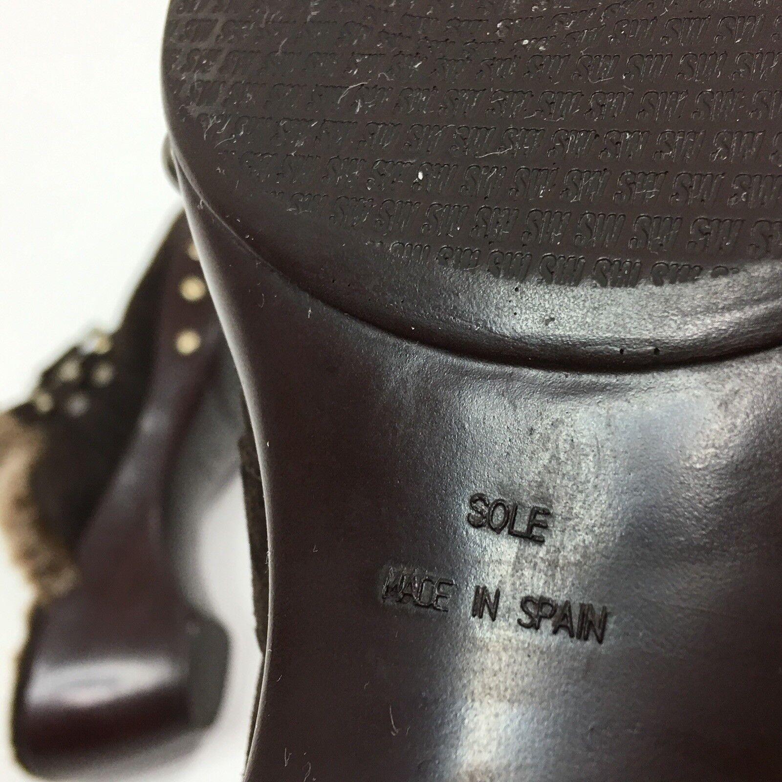 Stuart Weitzman damen Mule Wedge Wool Lined Suede Suede Lined Split Toe Horse Bit Größe 7 M 5be16f