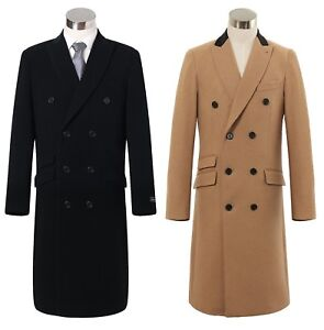 FORMAL BLACK WINTER OVERCOAT WOOL BLEND COAT CROMBY STYLE CLASSIC FASHION