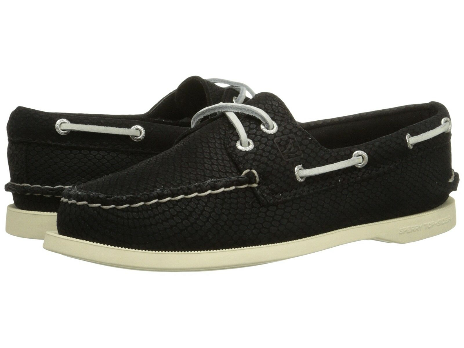 SPERRY TOP SIDER A O 2 EYE PYTHON BLACK WOMENS FLAT BOAT SHOES MULTISIZE