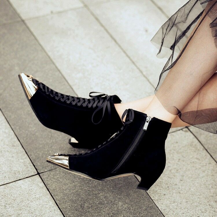 Women's Lace Up Ankle Boots Kitten Heels Suede Metal Pointed Toe Casual shoes
