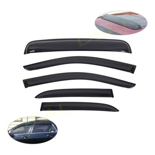 5pcs Smoke Vent Window Visors+Sun//Moon Roof Visor Fit 03-07 Honda Accord 4-Door