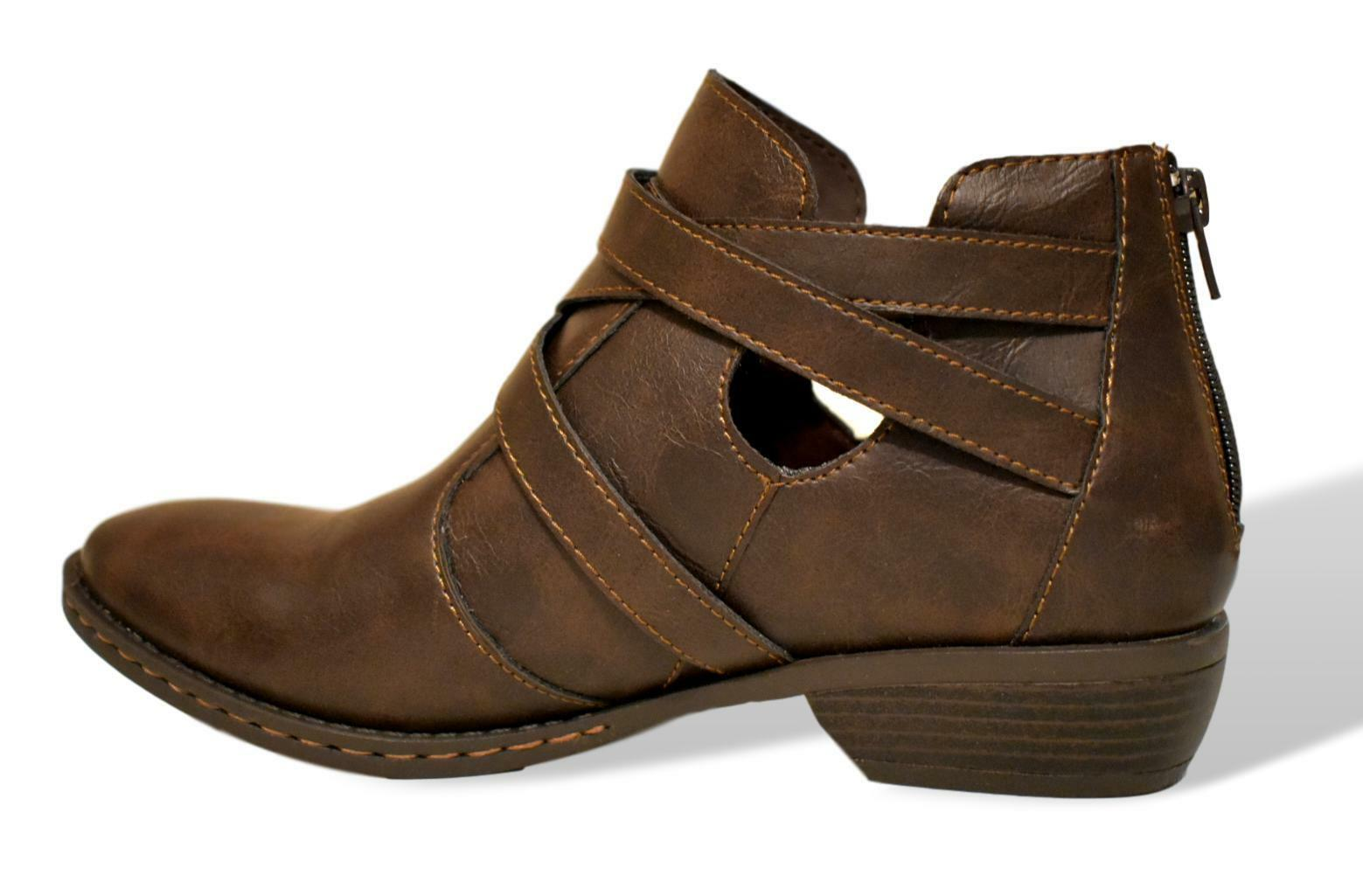 B.O.C. shoes Boots DENALI Brown (Coffee) 9M New in Box Buckle Round Toe Short
