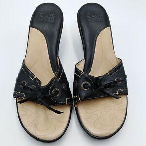 90a55c6b045e92 Details about Sofft Black Leather Upper Slide Sandals 1.5