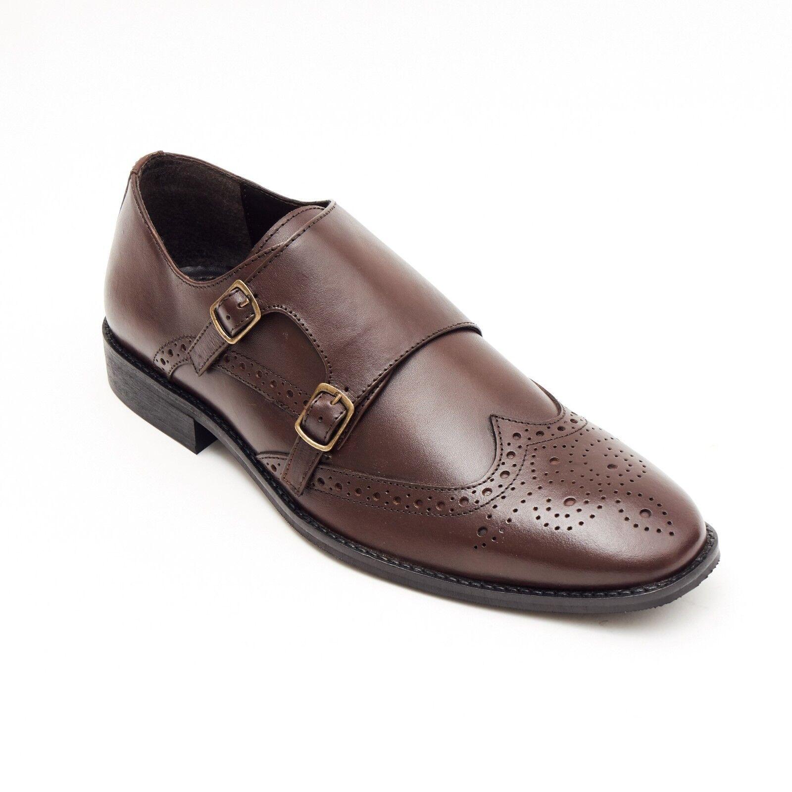 Lucini Formelle Hommes en Cuir Marron Richelieu à Formel Talons Boucle Chaussures Mariage Bureau