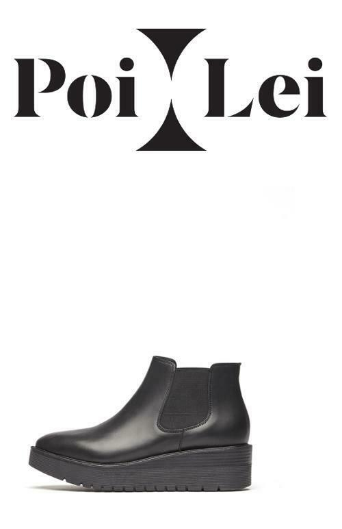 PoiLei Damen-Schuhe Chelsea Stiefel Lexia Stiefeletten Keilabsatz Leder