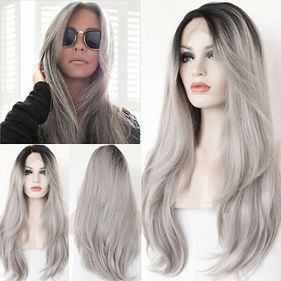 Beauty Women Ombre Gray Lace Front Wig Heat Resistant Straight Long Hair 20""