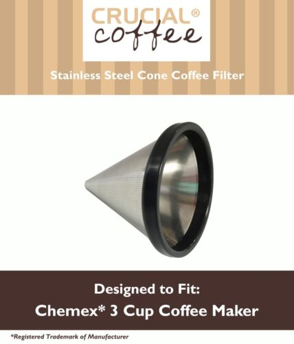 Washable & Reusable Cone Coffee Filter Fits Chemex® 3 Cup Coffee Makers FP-2