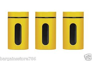 Yellow Canisters Set Of 3 Kitchen Tidy New Storage Tea Coffee Sugar